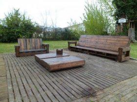 salon de jardin sur terrasse en palette