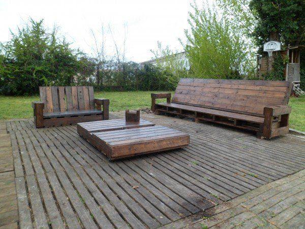 salon de jardin sur terrasse en palette - Creation Palette