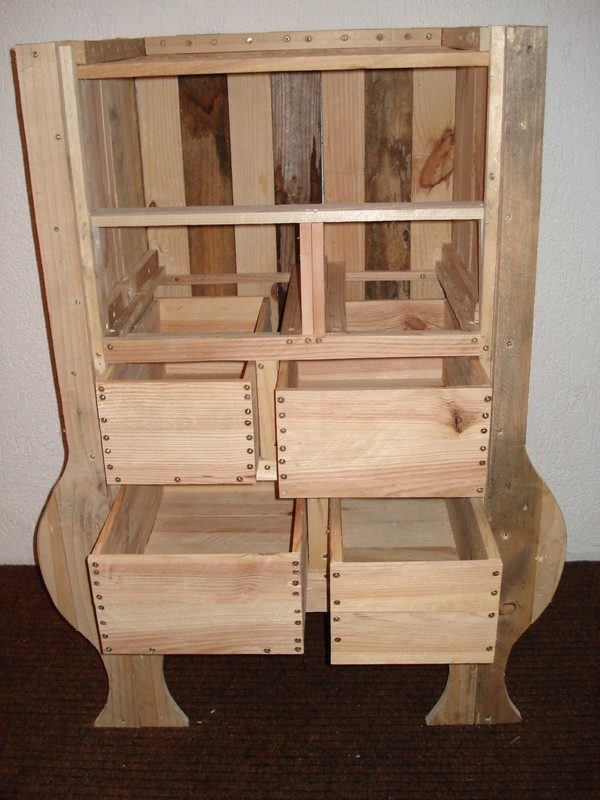 Commode en bois palette creation palette for Fabrication meuble palette bois