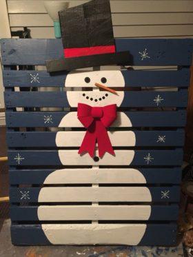 bonhomme de neige en palette